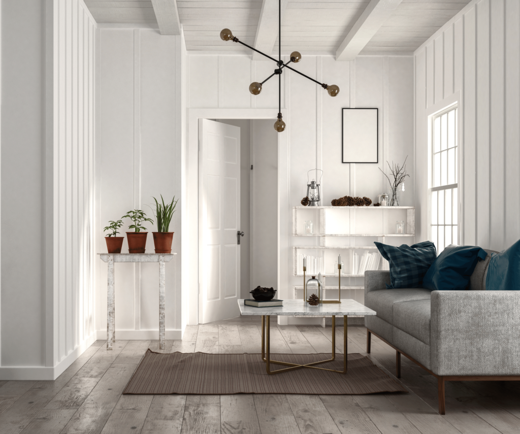white panelled walls